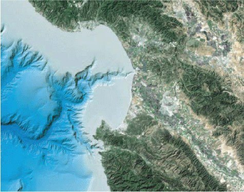 Monterey Bay Area Satellite and Bathymetry Map